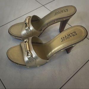 Franco Sarto Gold Studded Slides Heel Size 7.5